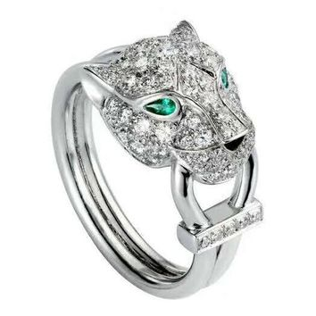 Cartier Fashion New More Diamond Leopard Ring Jewelry Silver