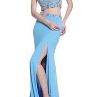 PRIMA 17-20211 Two Piece Jeweled Cap Sleeve Crop Top Prom Dress