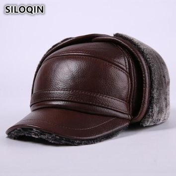 Trendy Winter Jacket SILOQIN New Winter Men's Genuine Leather Hat Thicken Warm Cowhide Leather Baseball Caps With Ears Dad's Hats Snapback Brands Cap AT_92_12