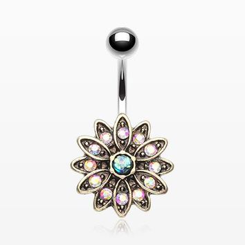 Vintage Chrysanthemum Opalescent Sparkle Belly Button Ring