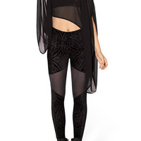 Black Vintage Print Mesh Leggings