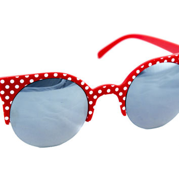 Sexy Red Polka Dot Rockabilly Sunglasses Mirror Lens Kitty Cat Eye Frame