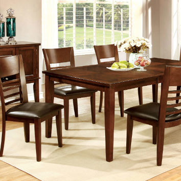 CM3916T-78-7PC 7 pc hillsview i brown cherry finish wood dining table set