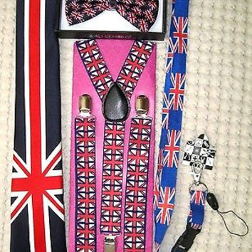 UK British Flag Y-Back Suspenders,UK Lanyard,UK Neck Tie & UK British Bow Tie-29
