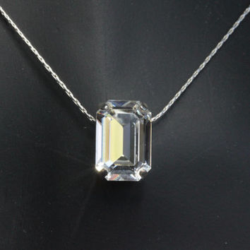 Swarovski Crystal Pendant.  Emerald Cut Crystal Pendant on Sterling Silver chain