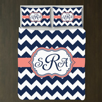 Custom Chevron Duvet Cover Bedding Set-Personalized w/Monogram-Navy Blue-Coral-White-ANY COLORS-Twin XL-Full/Queen-King-Customize-Preppy
