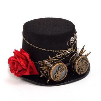 Unisex Steampunk Gears Floral Black Top Hat with Glasses Decoration Vintage Punk Style Fedora Headwear