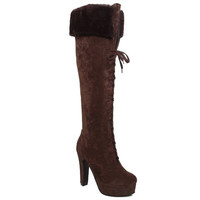 Deep Brown Knee-High Lace Up Boots