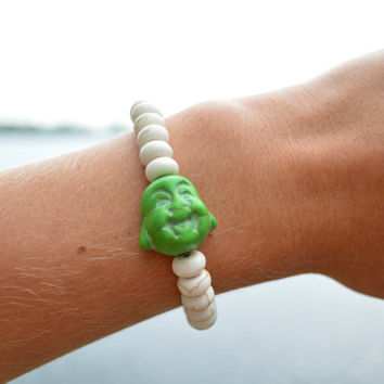 Happy Buddha Bracelet Bohemian Arm Candy Smiling Lucky Buddha Bracelet Beaded Hippie Accessory Beaded Stretch Bracelet White Arm Candy