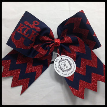 Navy & Red Glitter Chevron with Anchor Monogram Cheer BOW!!