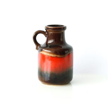 WEST GERMAN POTTERY Vase, Scheurich Vintage Retro Ceramic, 414 16, Red, Scheurich, Fat Lava, 1960s Mid-Century Modern, Made in Germany