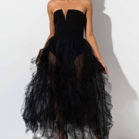 AKIRA Label Strapless Ruffled Tulle Maxi Party Dress in Black