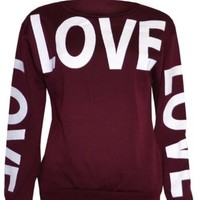 Womans Big Love Logo Sweater Sweatshirt Top (8/10 (uk 12/14), black)