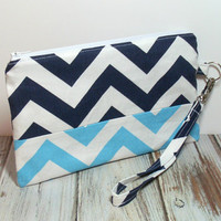 Clutch Wristlet - Aqua and Navy - Wristlet Purse - Wristlet Bag - Chevron Clutch - Womens Clutch - Navy Clutch Bag - Phone Wristlet - Clutch