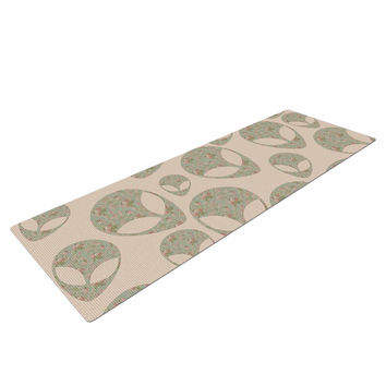 """Alias """"Abducting The Flowers"""" Pink Green Yoga Mat"""