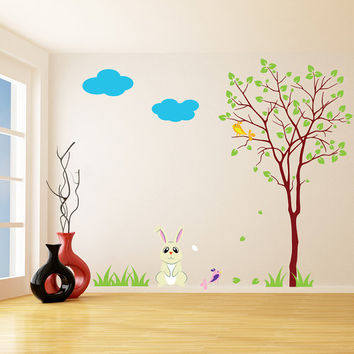 Vinyl Wall Kids Decal Rabbit with Tree / Art Home Baby Bunny, Birds Sticker / Child Kids Room Decor Mural DIY + Free Random Decal Gift!
