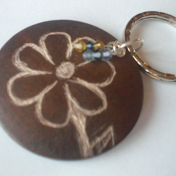 Engraved Flower Keychain Ooak Wood with Swaravski Crystals