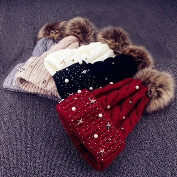 Fashion Women Lady Faux Fur Ball Winter Warm Crochet Knitted Hat Cap Beanie US