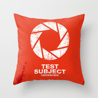 Aperture Science Test Subject Throw Pillow by R-evolution GFX | Society6