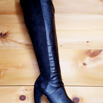Maxima FX Suede Stretch Black Banana Heel Knee Boots 6-10