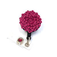 Cranberry Flower - Name Badge Holders - Flower Badge Reel - Designer Retractable ID Reel - Nurse Gifts - Pretty Badge Clips - BadgeBlooms