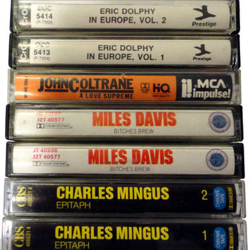 BITCHES BREW MiLeS DaViS CHaRLES MiNGUS ERiC DoLPHY JoHN CoLTRaNE cassette tape LoT vintage jazz music cassettes collection