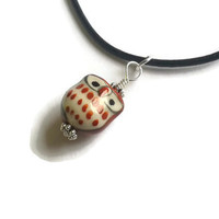 "Owl Necklace - Ceramic Brown Owl Pendant on 18"" Black Leather Cord"