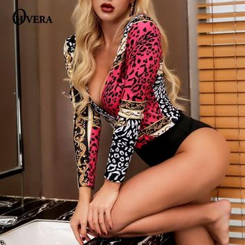 Ohvera Retro Print Long Sleeve Bodysuit Women 2018 Deep V Neck Sexy Bodycon Jumpsuit Rompers Womens Jumpsuit Summer Overalls