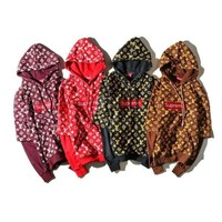 Supreme x LV Women Man Fashion Print Top Sweater Pullover Hoodie