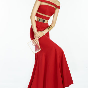 Red Choker Zip-Back Evening Dress