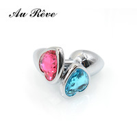 AuReve 2016 Hot Smooth Steel Anal Plug Pretty Crystal Heart Shaped Jewelry Metal Butt Plug Sex Toys For Men Women Free Shipping