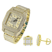 Iced Out Square Face Gold Tone Men's Watch with Matching Earrings Combo Set