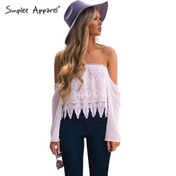 Simplee Apparel sexy fringe off shoulder lace blouse women Loose long sleeve chiffon blouses Summer style white blusas crop top