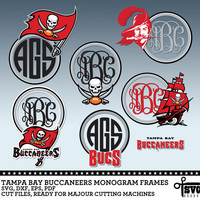 Tampa Bay Buccaneers Monogram Frames. Vector Digital Cut Files. SVG, dxf, eps, pdf for Silhouette, Cricut, SCAL yeti vinyl Die Cutting CF-63