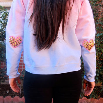 Studded Heart Elbow Patch Ombre Dip-Dyed Pastel Blue and Pink Light Fleece Sweatshirt