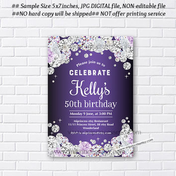 elegant purple invitation, modern elegant, Birthday party invite, Celebration invite,  Rhinestone , diamond theme - card 592