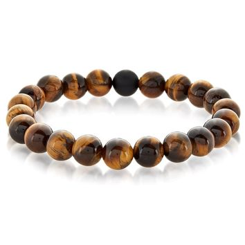 Crucible Men's Natural Healing Stone Beaded Stretch Bracelet - 8.5 Inches | Overstock.com Shopping - The Best Deals on Men's Bracelets