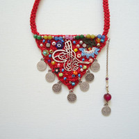Hamsa, Amulet, Red CottonHandmade Triangle Necklace, Uniqeu Necklace, Motherdays Gift,Authentic Necklace