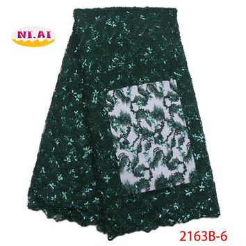 Luxury french lace with beads 3d lace fabric handmake sequins embroidered appliques green african lace for wedding NA2163B-1