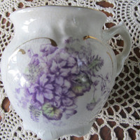 French Antique Shaving Mug Limoges Porcelain Victorian Shaving Scuttle Mug  Purple Violet Flowers