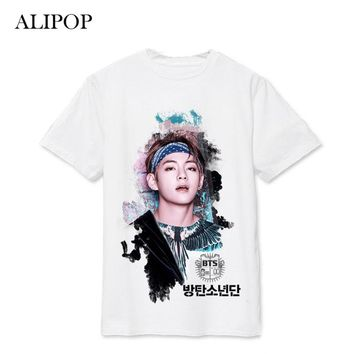 Kpop BTS Bangtan Boys WINGS SUGA V Album Live Print Loose Shirts Hip Hop Tshirt T Shirt Short Sleeve Tops T-shirt DX494