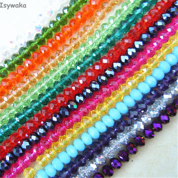 U Pick 18 Colors 4*6mm 50pcs Rondelle Austria faceted Crystal Glass Beads Loose Spacer Round Beads for Jewelry Making