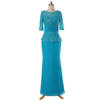 Elegant Chiffon Appliques Mother Of The Bride Dresses Scoop Half Sleeves V Back Long Party Gowns