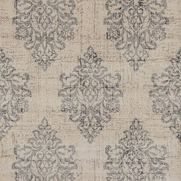 3806 Gray Ivory Damask Distressed Area Rugs