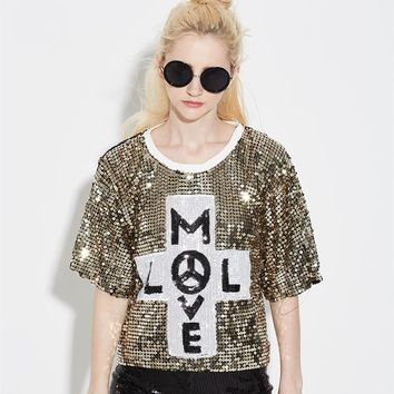 Lose Women Letter Sequin Hip Hop T Shirt Top Bling Glitter Casual Club wear Half Sleeve Mesh Street T-Shirt