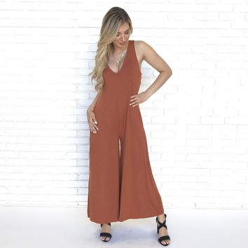 Andrea Sleeveless Jersey Jumpsuit in Rust