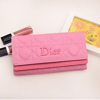 Dior LV Women Leather Multicolor Wallet Purse Pink