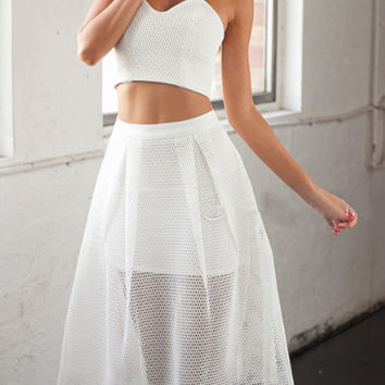 White Strapless Crop Top With High Waist from Midnight Bandit