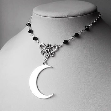 Black Lunaria Silver Moon Inspired Pendant Necklace