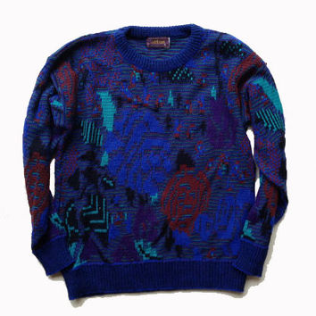 S/M Cosby Sweater - Abstract Design Sweater - Vintage Clothing - Ugly Christmas Party Sweater - Made in USA - Christmas Gift